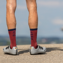 Dig Deep - Bordeaux/Navy Blue - Premium Cycling Socks - 20cm