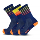 Mix & Match - Blue/Yellow/Orange/Red - Cycling Socks - 20 cm
