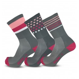 Mix & Match - Grey/Pink/White - Cycling Socks - 20 cm